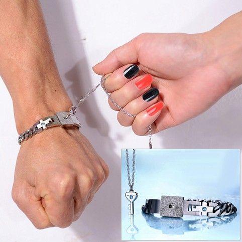 Engraved Real Lock Key Girlfriend Boyfriend Bracelet