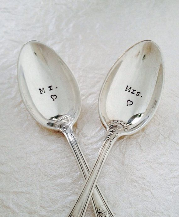 Engraved Mr And Mrs Silver Spoons Wedding Gift By
