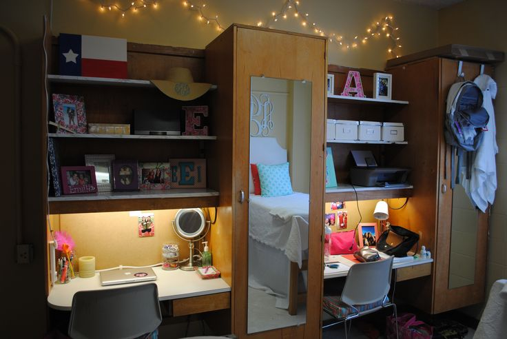 College Dorm Room Decorating Ideas My Desk And Built-ins In Ole Miss Crosby Corner Dorm Room