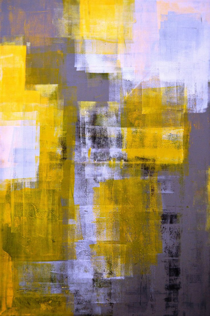 Large Scale Wallpaper Large Acrylic Abstract Art Painting Yellow, Black, White
