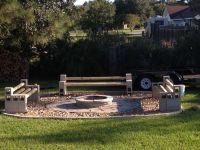 Cinder block benches around fire pit   Outdoor   Pinterest ...