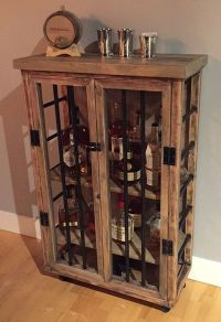Liquor Cabinet, Rustic Iron and Wood with Natural ...