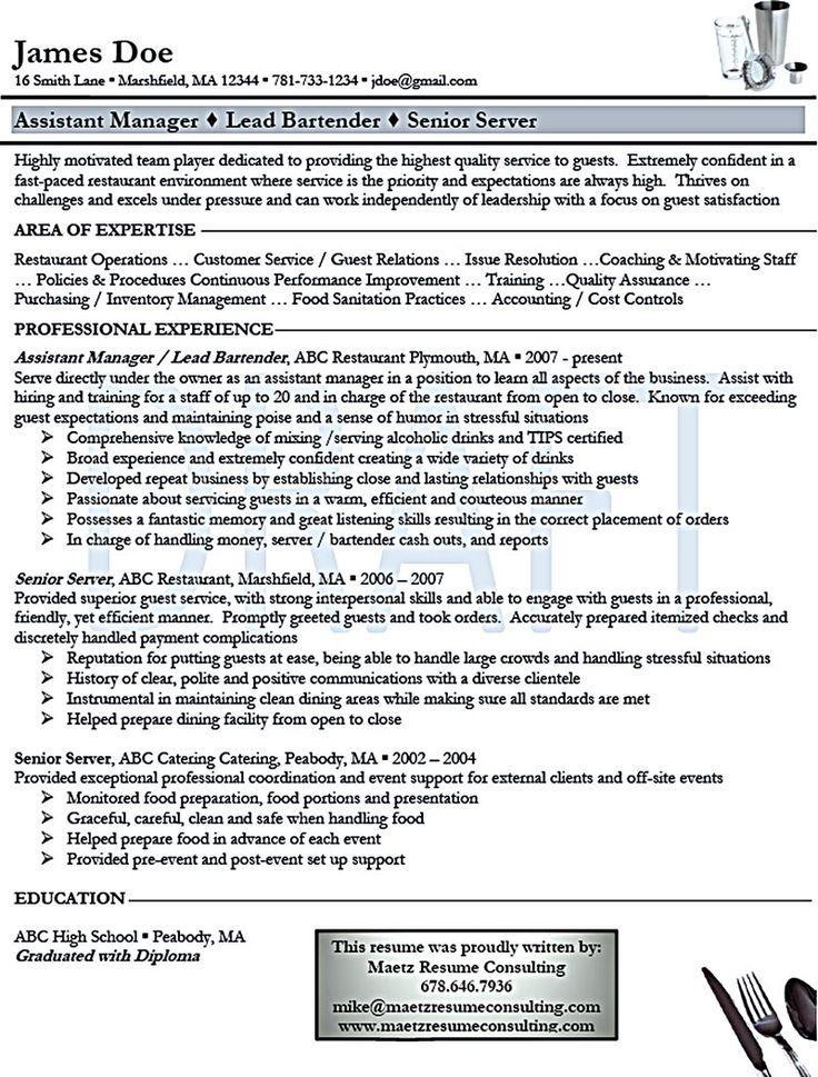 resume for server bartender