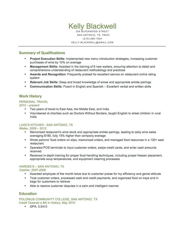 Doc.#620800: Food Service Resume – Food Service Waitress Waiter