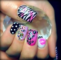 Girly nails! Gotta have the zebra print! :)