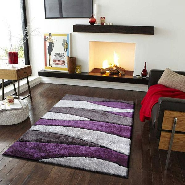 Shaggy Gray And Purple Hand Tufted Rug Exact Size 539 X 7