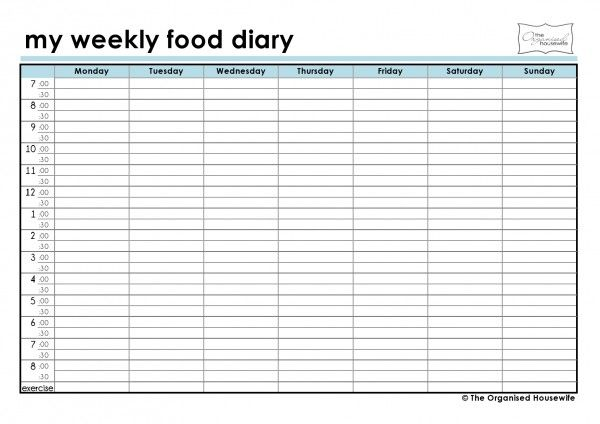 weekly food diary template
