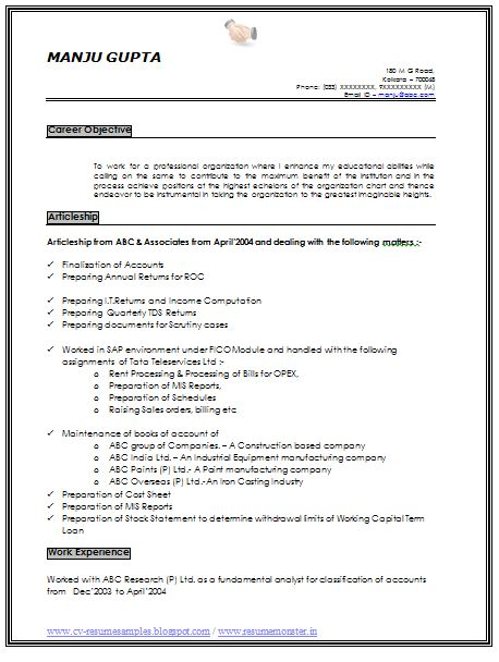 B Tech Freshers Resume Format Blogspot Resume Sample Of An Experience Chartered Accountant With