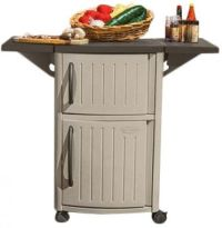 Outdoor Serving Cart Patio Bar Tray Storage Cabinet ...