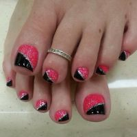 Pink and Black Toe Nail Art Designs with Glitter | nails ...