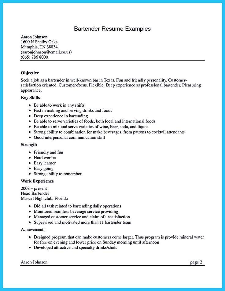 Bartender Resume Format Bartending Resume Examples 10 Bartender - resume for a bartender