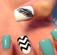 White and mint green nail design with feather | Nails ...