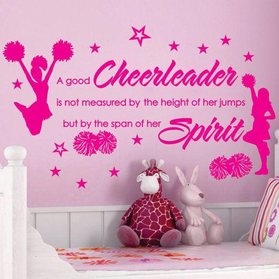 Cheer Cheerleaders Poms Girls Stars Custom Vinyl Wall