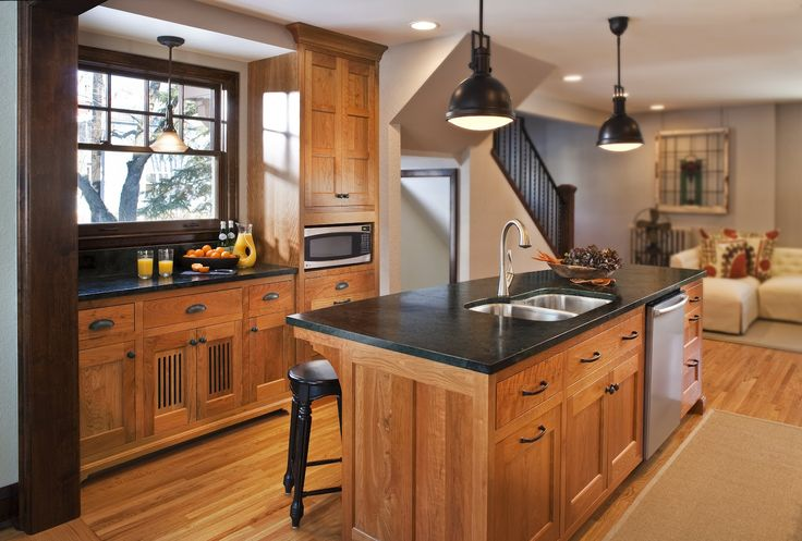 Natural Oak Cabinets With Soapstone Counter Tops