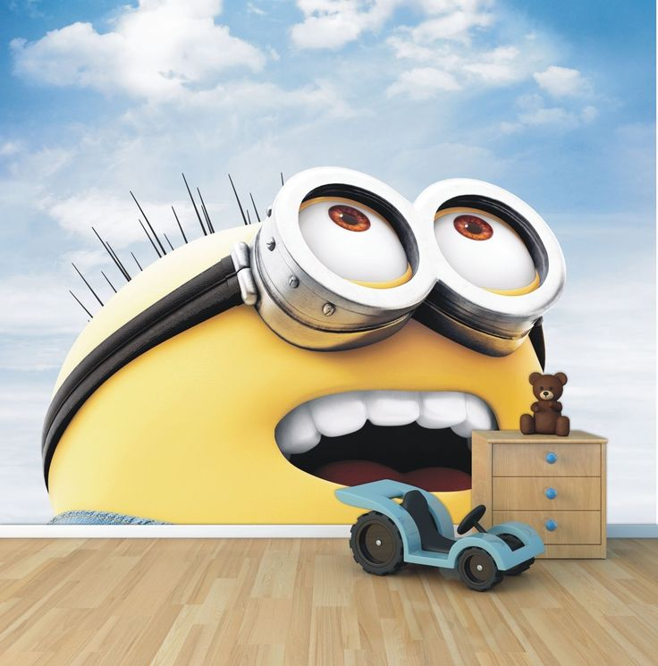 3d Wallpaper For Bedroom Walls Details About Minion Wallpaper Mural Style 1 Childrens
