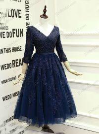 PD16019 Sexy navy blue open back tea length school prom ...