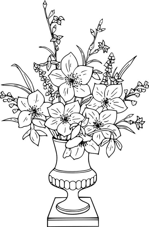 Flower Bouquet Lily Flower Bouquet In Vase Coloring