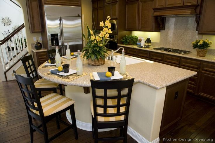Marble Top Kitchen Island #kitchen Idea Of The Day: Classic Dark Walnut-colored