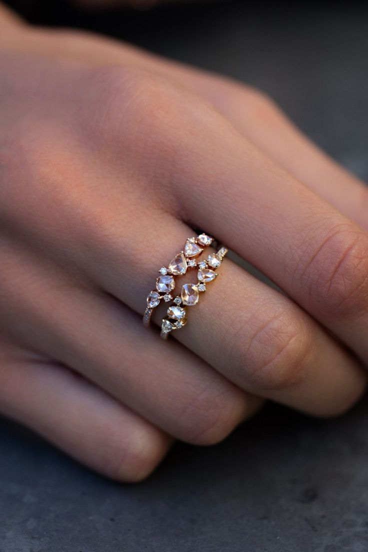 cute engagement rings law enforcement wedding bands New wedding band option Love this for a wedding band gold and rose cut diamond cluster ring Luna Skye by Samantha Conn