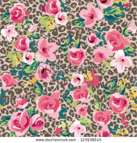Betsey Johnson Wallpapers Quotes Stock Vector Seamless Vintage Cute Flower With Leopard