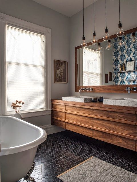 Meuble De Salle De Bains Custom Vanity With Custom Deck Mounted Square Marble Sinks