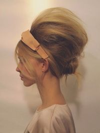 Bouffant bun updo - bangs headband | Mummy's wedding hair ...
