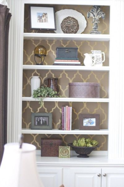 stencil painted bookshelf | The perfect home | Pinterest | Toilets, Stencils and Painting bookshelf