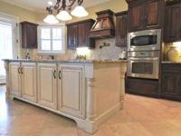 dark cabinets- white island | Cool decorating ideas ...