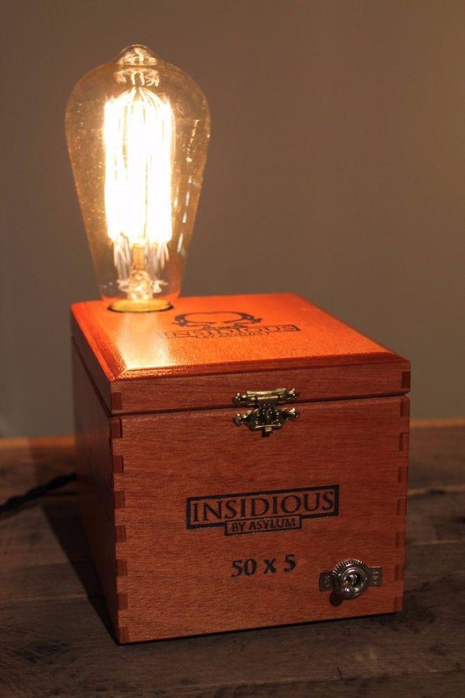 Handmade Insidious By Asylum Wooden Cigar Box Lamp With