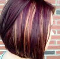 Cute short hair cut with purple and blonde highlights ...