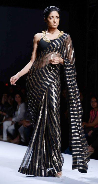 Jesse Randhawa for designer Reynu Tandon in a black & gold ...
