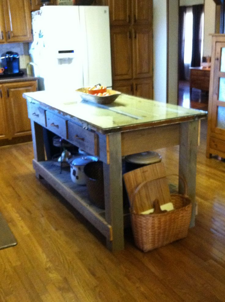 Old Barn Wood Kitchen Island Kitchen Island Made From Old Barn Wood, Pallet Wood, And