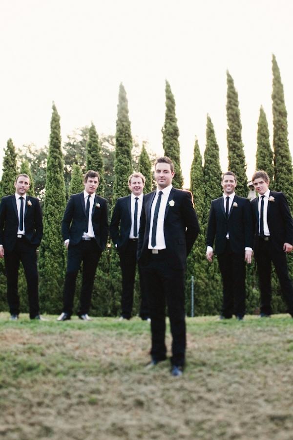 Groomsmen: Black Suit, White Shirt, Black Tie
