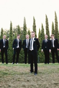 Groomsmen: Black Suit, White Shirt, Black Tie