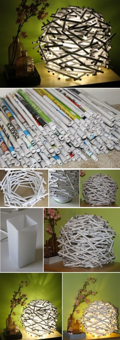{DIY} How To Make A Bird's Nest Lamp Shade Out of Newspaper | In the corner, Style and Lamp shades