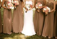 Mocha bridesmaid dresses, antique lace, pink peonies ...