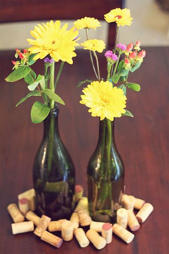 Kitchen Remodeling Diy: Wildflower Wine Bottle Centerpieces | Dinner Ideas