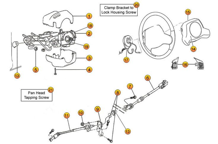 jeep tj wrangler steering column parts