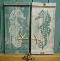 Seahorse Sign Wall Art Wood Wooden Beach House Decor - One ...