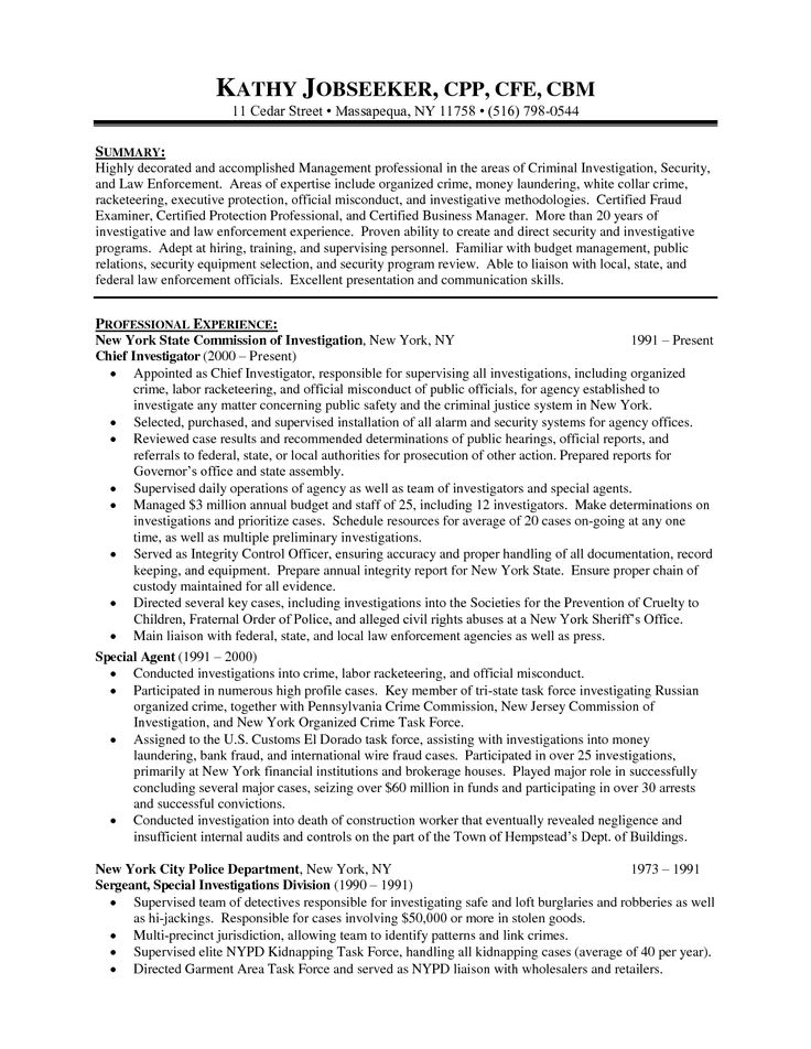 Police Administration Sample Resume Officer