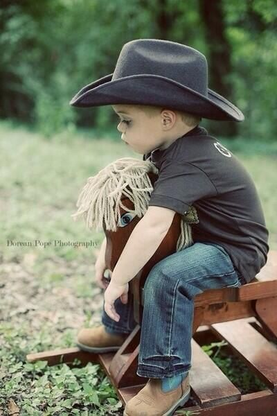 Small Boy And Girl Love Wallpaper Rocking Horse Jeans T And Cowboy Hat With Boots For My