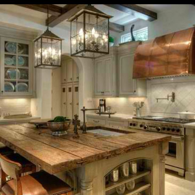 Wood Island Tops Kitchens Love! Reclaimed Wood Counter Top + Exposed Beams | Kitchen