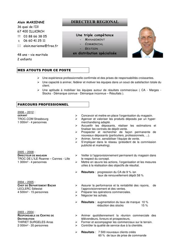 cv responsable commercial exemple