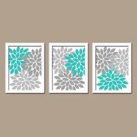 Turquoise Gray Wall Art, Bedroom Pictures, CANVAS or ...