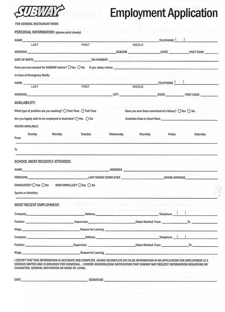 sample job applications forms