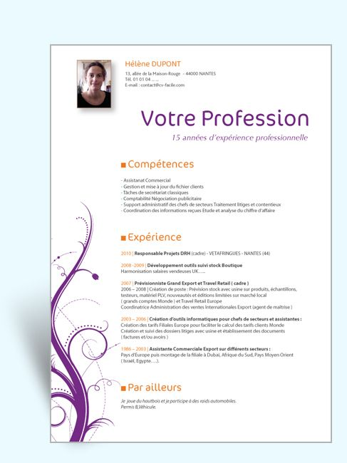 cv word charge ressources humaines