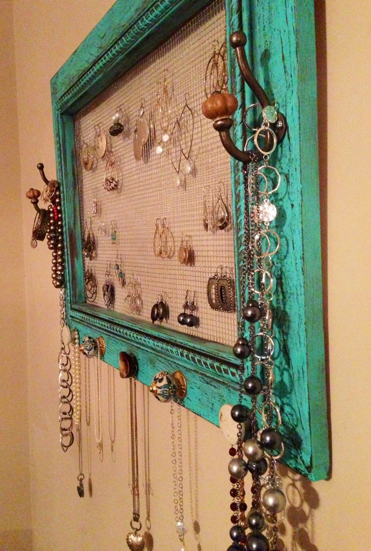 Schmuck Bilderrahmen Jewelry Organizer Painted And Distressed Pic Frame. Could
