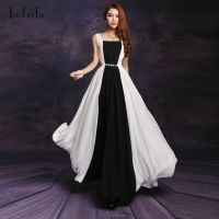 2013 summer fashion black and white patchwork chiffon long