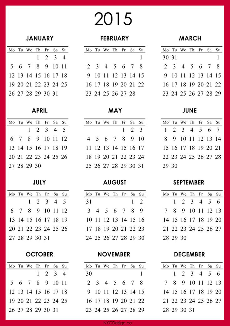 calendar 2015 to print