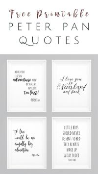 Peter Pan movie quotes FREE Printables - Set of 4 ...